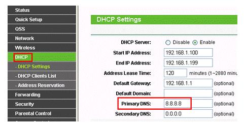 DNS на роутере TP-link